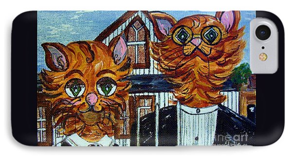 American Gothic Cats - A Parody IPhone Case