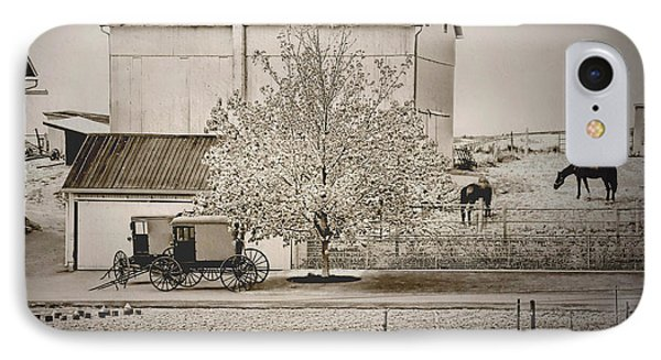 An Amish Farm In Sepia IPhone Case