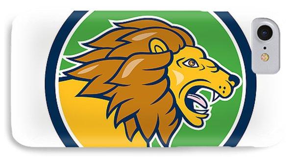 Angry Lion Head Roar Circle Cartoon IPhone Case