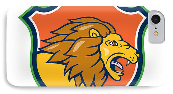 Angry Lion Head Roar Shield Cartoon IPhone Case