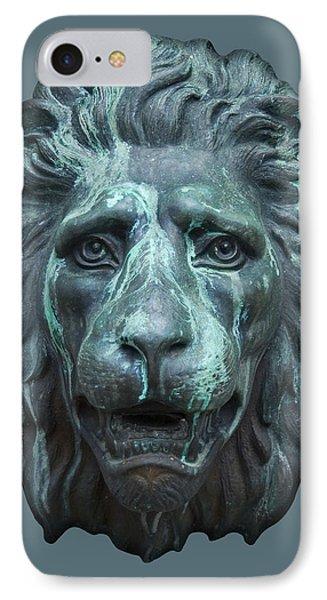 Antique Lion Face In Blue IPhone Case