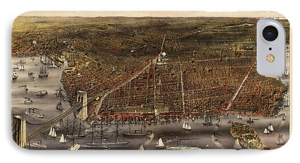 Antique Map Of Brooklyn By Currier And Ives - Circa 1879 IPhone Case