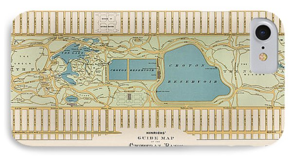 Antique Map Of Central Park New York City By Oscar Hinrichs - 1875 IPhone Case