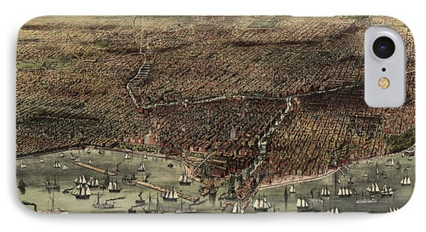 Antique Map Of Chicago By Currier And Ives - 1892 IPhone Case