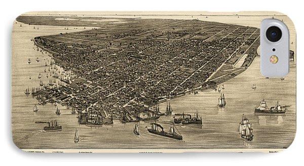 Antique Map Of Key West Florida By J. J. Stoner - 1884 IPhone Case