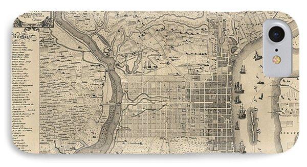 Antique Map Of Philadelphia By P. C. Varte - 1875 IPhone Case