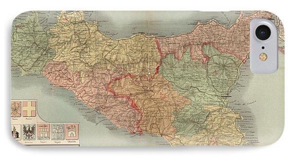 Antique Map Of Sicily Italy By Antonio Vallardi - 1900 IPhone Case