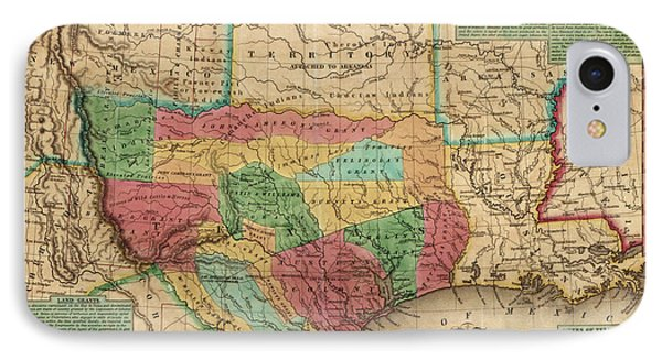 Antique Map Of Texas By James Hamilton Young - 1835 IPhone Case
