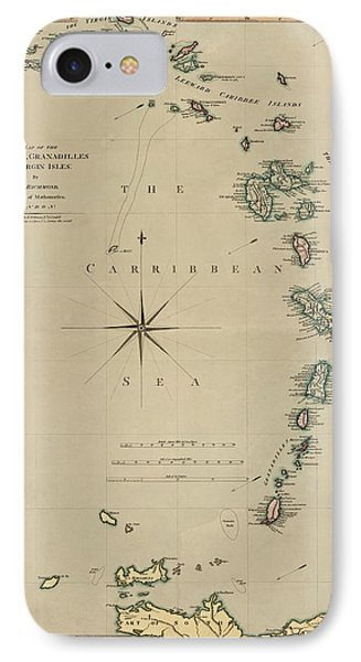 Antique Map Of The Caribbean - Lesser Antilles - By Mathew Richmond - 1789 IPhone Case
