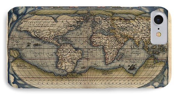Antique Map Of The World By Abraham Ortelius - 1570 IPhone Case