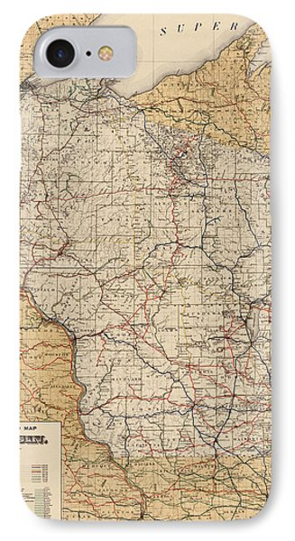 Antique Railroad Map Of Wisconsin - 1900 IPhone Case