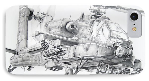 Helicopter iPhone 8 Case - Apache by James Baldwin Aviation Art