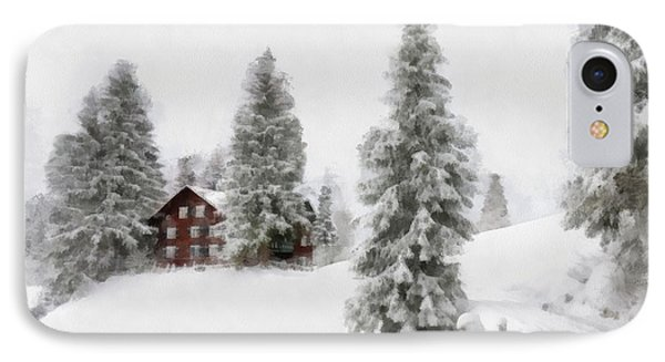 Aquarell - Beautiful Winter Landscape With Trees And House IPhone Case