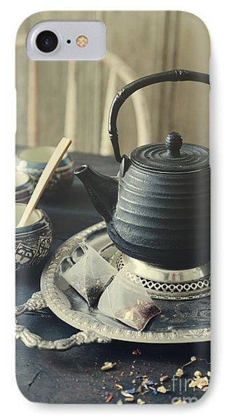 Asian Teapot With Cups And Herbal Bags Of Tea IPhone Case
