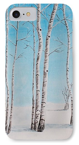 Aspens In Snow IPhone Case