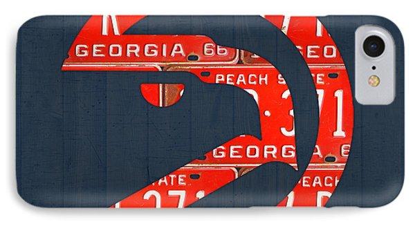 Atlanta Hawks Basketball Team Retro Logo Vintage Recycled Georgia License Plate Art IPhone Case