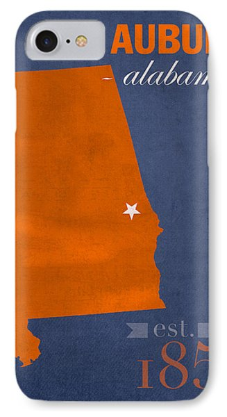 Auburn University Tigers Auburn Alabama College Town State Map Poster Series No 016 IPhone Case