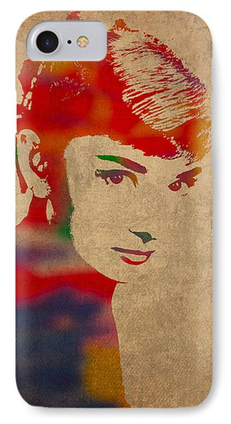 Portraits iPhone 8 Case - Audrey Hepburn Watercolor Portrait On Worn Distressed Canvas by Design Turnpike