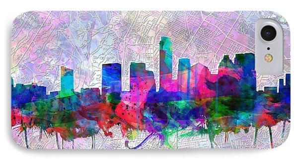 Austin Texas Skyline Watercolor 2 IPhone Case