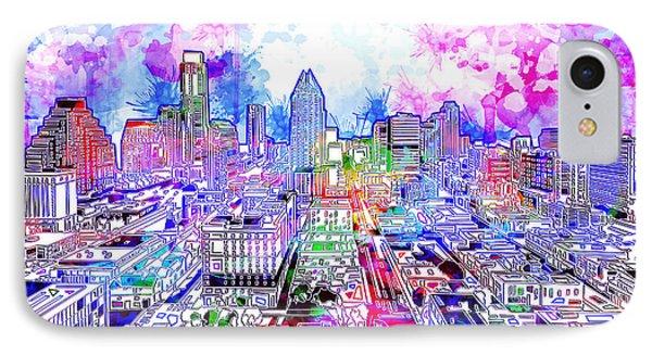 Austin Texas Watercolor Panorama IPhone Case
