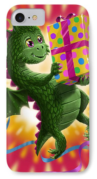 Baby Birthday Dragon With Present IPhone Case