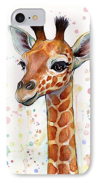 Print iPhone 8 Case - Baby Giraffe Watercolor  by Olga Shvartsur