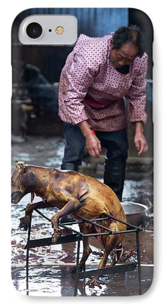 Barbecued Dog Carcass In A Chinese Market IPhone Case