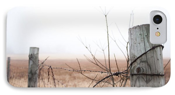 Barbed Wire Fence In The Fog IPhone Case