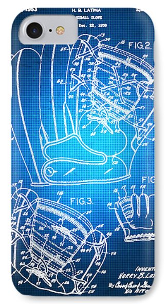 Baseball Glove Patent Blueprint Drawing IPhone Case