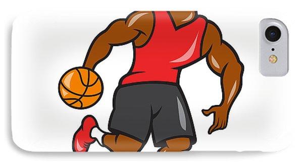 Basketball Player Dribbling Ball Cartoon IPhone Case