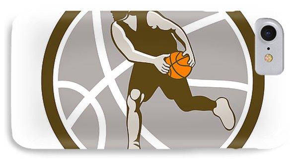 Basketball Player Dribbling Ball Circle Retro IPhone Case