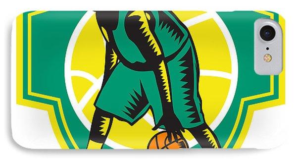 Basketball Player Dribbling Ball Woodcut Shield Retro IPhone Case