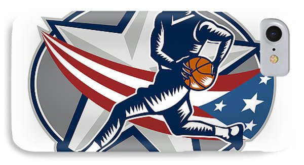 Basketball Player Fast Break Lay-up Woodcut IPhone Case