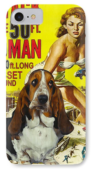 Basset Hound Art Canvas Print - Attack Of The 50ft Woman Movie Poster IPhone Case