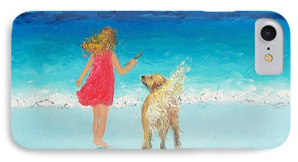 Whimsical iPhone 8 Case - Beach Painting 'sunkissed Hair'  by Jan Matson