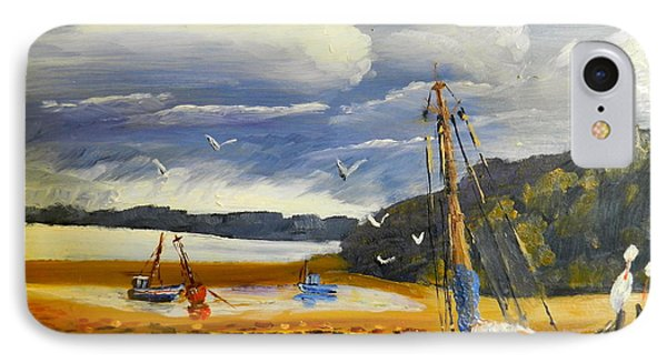 Beached Boat And Fishing Boat At Gippsland Lake IPhone Case