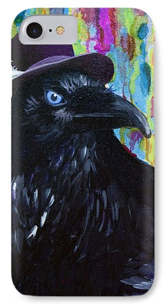 Beautiful Dreamer Black Raven Crow 8x10 Mixed Media By Jaime Haney IPhone Case