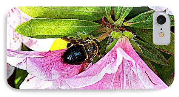 Bee On  Pink Azalea IPhone Case