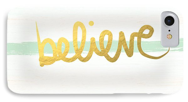 Believe In Mint And Gold IPhone Case