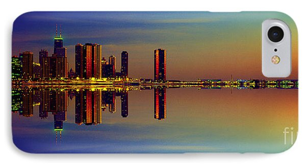 Between Night And Day Chicago Skyline Mirrored IPhone Case
