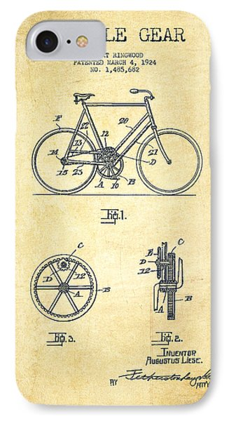 Bicycle Gear Patent Drawing From 1924 - Vintage IPhone Case