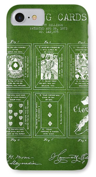 Billings Playing Cards Patent Drawing From 1873 - Green IPhone Case