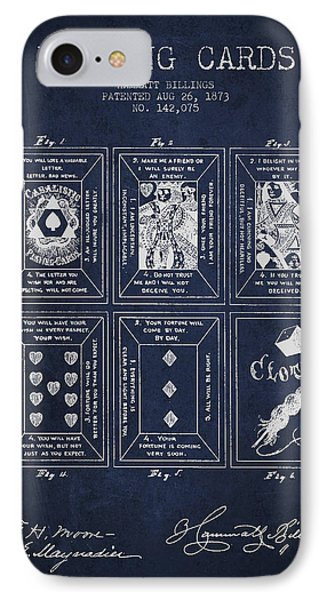 Billings Playing Cards Patent Drawing From 1873 - Navy Blue IPhone Case