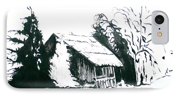 Black And White Barn In Snow IPhone Case