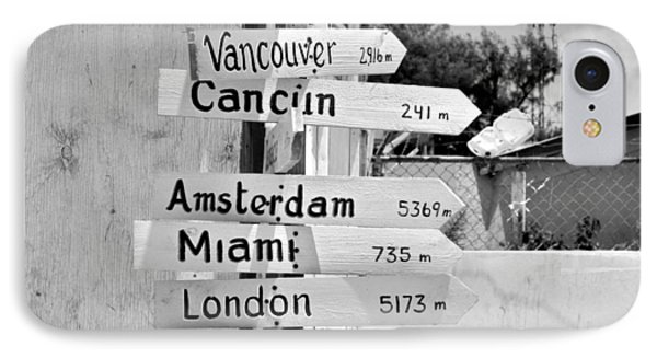 Black And White Directional Sign IPhone Case