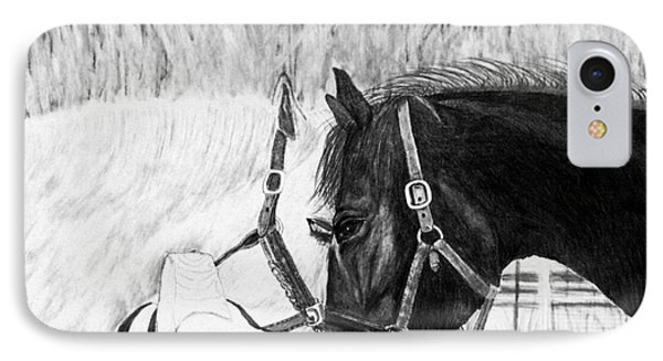Black And White Horses Art Print IPhone Case
