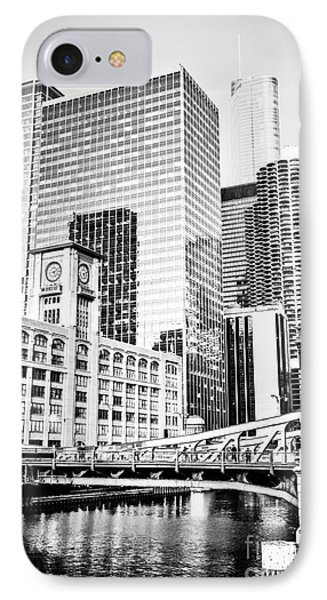 Black And White Picture Of Chicago At Lasalle Bridge IPhone Case