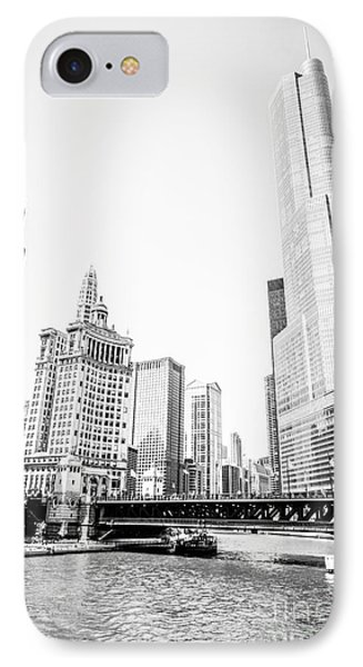 Black And White Picture Of Chicago River Architecture IPhone Case