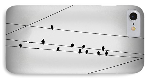 Black Birds Waiting IPhone Case