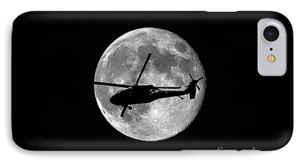 Helicopter iPhone 8 Case - Black Hawk Moon by Al Powell Photography USA